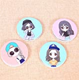 KEANER Women's Accessories Cute Mirror Mini Round Portable Hip-hop Girl Pattern Glass Mirrors Circles for Crafts Decoration Cosmetic Accessory