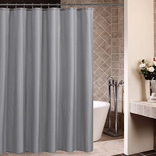 Shower Curtains, LHome Waterproof and Mildew Proof Shower Curtains With Plastic Hooks, 71 x 71 Inches, Grey Plaid (Gray) (Pottery Barn Double Rod)