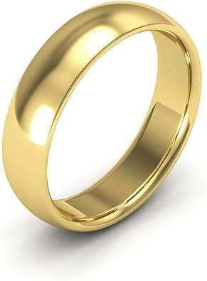 14k Yellow Gold 5mm Domed Plain Wedding Band Ring