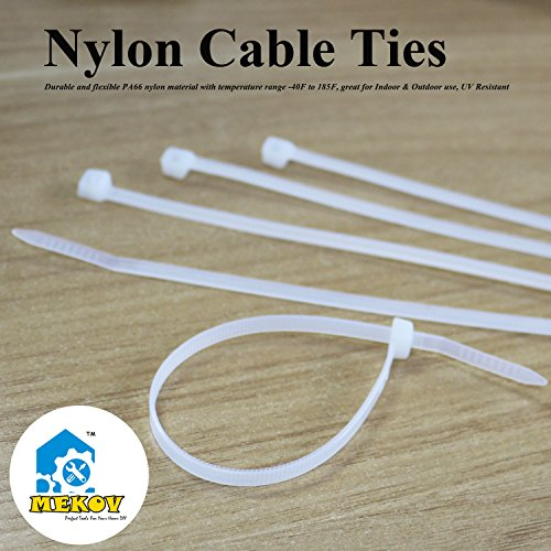 Nylon Cable Ties, Mekov, 15 Inch Heavy Duty Cable Ties, 120-LB Tensile Strength, Zip Ties with 0.3 Inch Width, Durable, Indoor & Outdoor use, UV Resistant (15'', 100 Pack, White) by Mekov (Image #2)