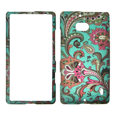 Nokia Blue Phone Faceplates (2D Blue Paisley Nokia Lumia Icon 929 Verizon Case Cover Hard Phone Case Snap-on Cover Rubberized Touch Protector Faceplates)