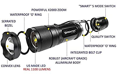 Brightex XR-1100 Pro Real UL Lab Tested 1100 Lumens Super Bright Small Tactical Flashlight US Made LED, Water Resistant, 5 Light Modes, Powerful X2000 Zoom & Belt Clip