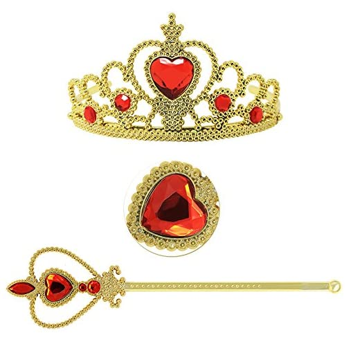 Princess Dress Up Accessories Gift Set For Belle Crown Scepter Necklace Earrings