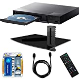 Sony BDP-S3700 Streaming Blu-ray Disc Player with Wi-Fi, Stanley Single Glass Media Shelf, LCD Screen Cleaning Kit and HDMI Cable Bundle