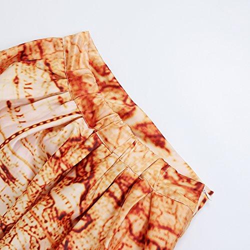 NEWISTAR Mujer 3D Impresióned Gráfico Una línead Midi Cintura altaPlisadoFalda Style5