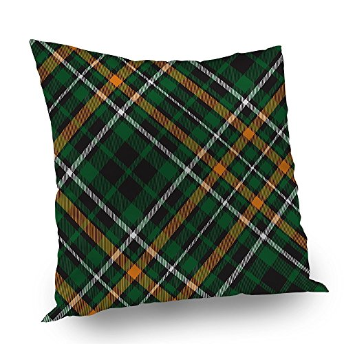 Mugod Pillow Cover Celtic Fc Diagonal Green Tartan Pattern Decorative Throw Pillow Case For Home Decor Couch Bed Sofa Satin Square Cushion Cover For Men Women Kids 16X16 (Celtic Fc Bedding)