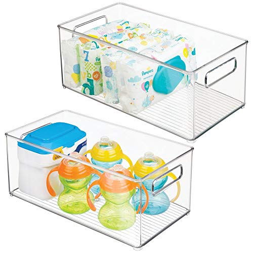 mDesign Deep Storage Organizer Container for Kids/Child Supplies in Kitchen, Pantry, Nursery, Bedroom, Playroom - Holds Snacks, Bottles, Baby Food, Diapers, Wipes, Toys - 14.5