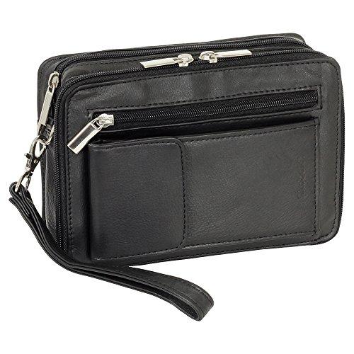 Luxus Herren Handgelenktasche Business Tasche mit Smartphonefach aus feinem Nappaleder in Schwarz