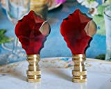 2 of 26% Lead Glass Crystal Red Baroque Leaf Lamp Shade Finials