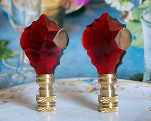 Leaf Finial Lamp - 2 of 26% Lead Glass Crystal Red Baroque Leaf Lamp Shade Finials