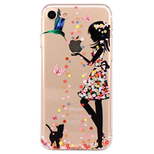 (iPhone 7 Case, iPhone 8 Case, JAHOLAN Cute Design Clear Bumper TPU Soft Case Rubber Silicone Skin Cover for iPhone 7 / iPhone 8 - Flower Pretty Girl)
