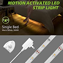 Megulla Motion Activated Bed Lighting, 5ft/1.5m Flexible LED Strip Motion Sensor Night Light,Dimmable, Bedside Lamp Illumination with Auto and Optional Shut Off Timer -3000k, Warm White