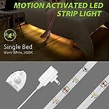Megulla Motion Activated Bed Lighting, Flexible LED Strip Motion Sensor Night Light, Dimmable, 12V Power Supply, Optional Smart Timer -3000k, Warm White (Single Bed)