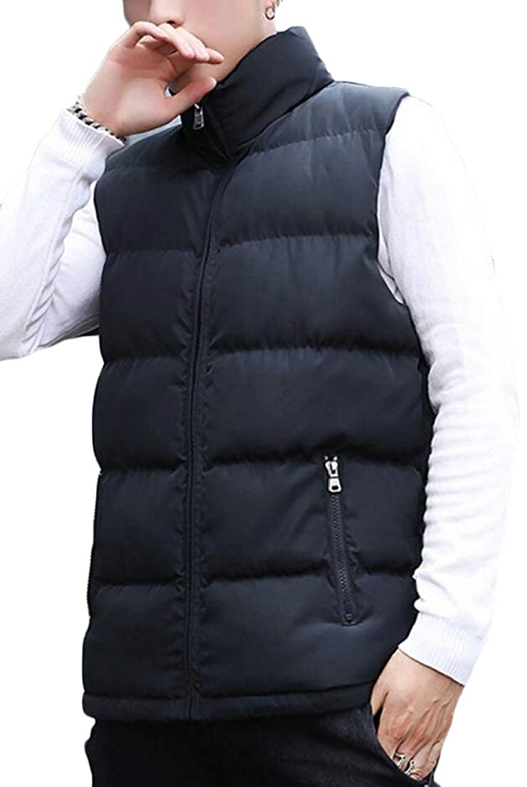 Generic Mens Sleeveless Stand Collar Front-Zip Winter Quilted Thick Down Vest Jackets