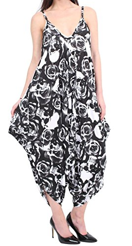 Oops Outlet Baggy Thin Strap Playsuit Romper sin mangas Italiano Drape Jumpsuit, Skull & Rose