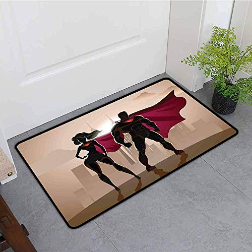 YGUII Entrance Doormat,Superhero Super Woman and Man Heroes in City Solving Crime Hot Couple in Costume,Easy Clean Rugs,16X23.6in (40x60cm) Beige Brown Magenta]()