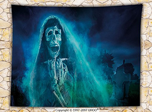 Halloween Decorations Fleece Throw Blanket Gothic Dark Background with a Dead Ghost Skull Skeleton Mystical Haunted Horror Theme Throw (West Elm Halloween Decorations)