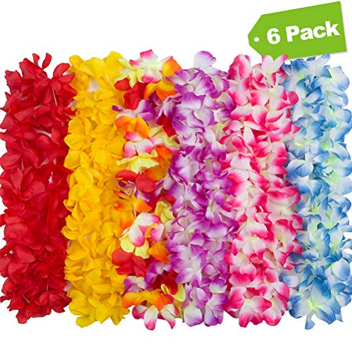 6 Colors Hawaiian Leis Wreaths Necklaces for Adult Kids to Use in Different Occasions Party Luau Solid Colors Multicolour -