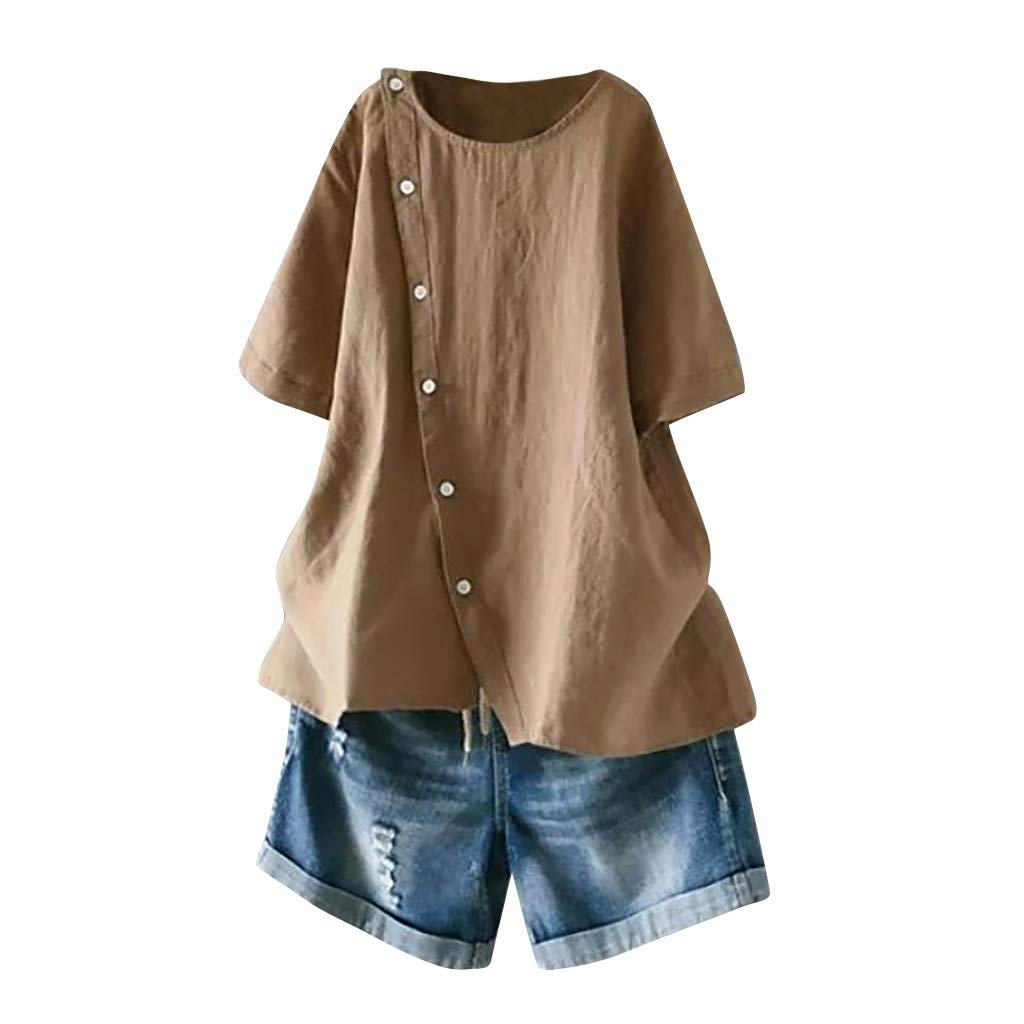 Botrong Womens Tops Button Down Short Sleeve Cotton and Linen Round Neck Loose T-Shirt Plus Size Blouse