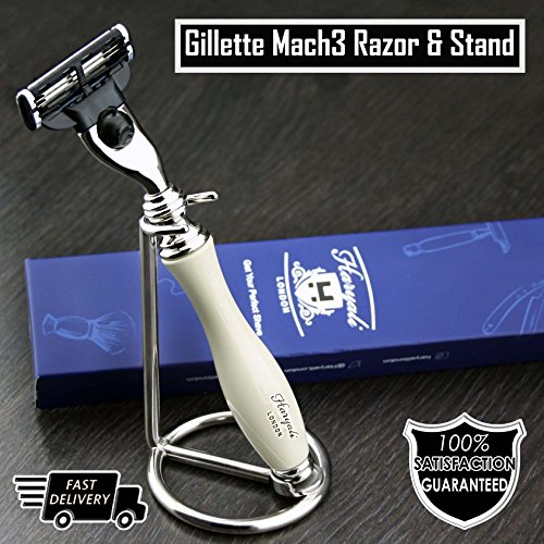 Gillette Mach3 Razor in Ivory Colour & Stainless Steel Stand | Men