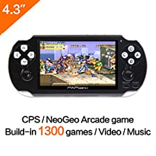 CZT 64Bit Handheld Game Console 4.1'' Video Game Console Support Built-in 650 CPS/NEOGEO/GBA/SFC/MD/FC/GBC/SMS/GG Games Mp5 Player (Black)