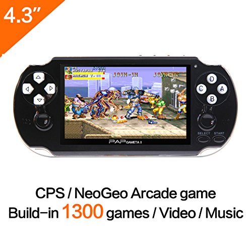 CZT 64Bit Handheld Game Console 4.3'' Video Game Console Support Built-in 1300 CPS/NEOGEO/GBA/SFC/MD/FC/GBC/SMS/GG Games Mp5 Player (Black)