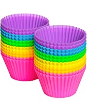 Silicone Cupcake Liners, DILISS Reusable Silicone Baking Cups Nonstick Muffin Molds for Cake Balls, Muffins, Cupcakes and Candies, Assorted Bright Colors Heat Resistant up to 233℃/ 450℉(24 Pcs)