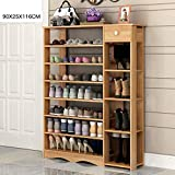 5/6/7-Tier Wood Storage Shoe Rack Stand Free Standing Shoe Organiser Shelf with Drawers (Color : 1, Size : 7 Layer)
