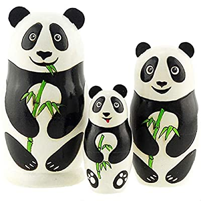 Azhna 3 pcs Panda Family Nesting Doll, Woodburned and Hand Painted Russian Doll, 10.5 cm Wooden Stacking Doll: Home & Kitchen