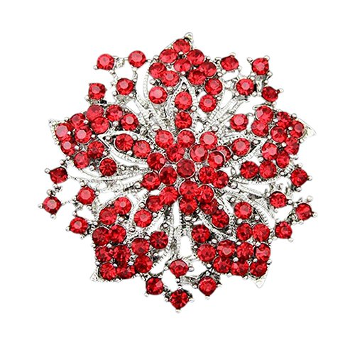 Holrea Elegant Cluster Rhinestones Round Blossom Flower Crystal Brooches Pin Silver Plated Femme Breastpin Clothes Decors Wedding Rhinestone Bouquet Brooch Pin for Women Girls Red