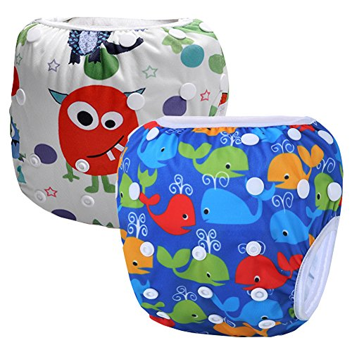 Storeofbaby 2 Pack Reusable Washable Baby Swim Diapers Neutral Pattern for Boys and Girls