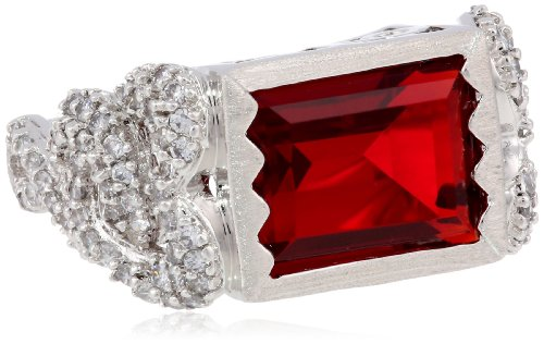 photo Wallpaper of Domo-DOMO White Bronze Red Glass Cubic Zirconia Ring, Size 8-White