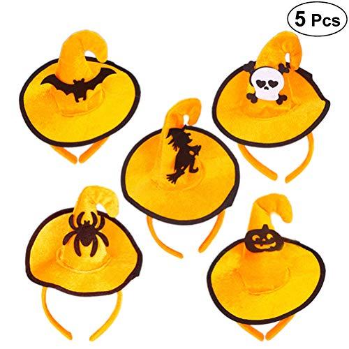 Lurrose 5pcs Orange Halloween Hairband Love Sweety Pumpkin Spider Devil Skull Headband for Halloween Prom Costume -