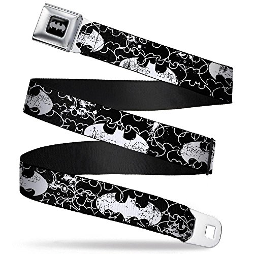 Batman Black/Silver Seatbelt Belt - Batman Outlines Black/White Webbing -