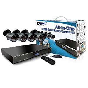 KGuard BR401-4CW154M All-in-One H.264 Surveillance Combo Kit with 4-Channel DVR and 4 Weatherproof Day/Night Cameras