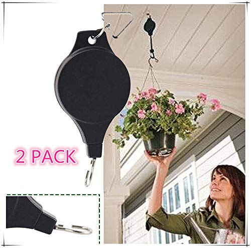 2 Piece Pulley - 2 Pieces Plant Pulley, Retractable Heavy Duty Easy Reach Pulley Plant Hanging Flower Basket Hook Hanger for Garden Baskets Pots & Birds Feeder