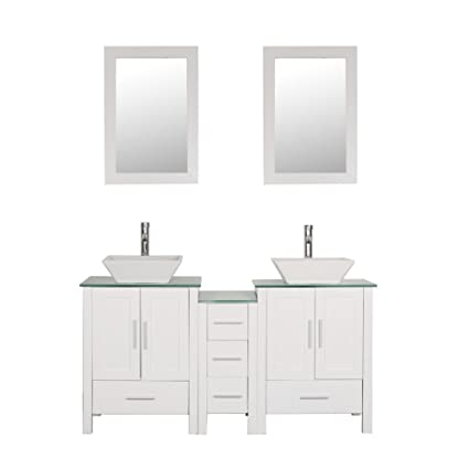 60 Bathroom Vanity Cabinet With Double Sink Combo Glass Top White