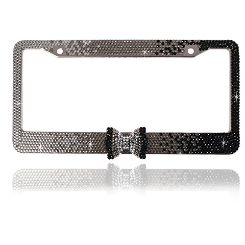 Global_Shopper Fashion Gradient Black Bowtie Bling Crystal License Plate Frame Cute Rhinestone Car/Truck/SUV License Plate Holder(1 - Studded Plate