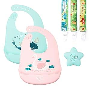 XPUTI Silicone Baby Bibs 3 Pacifier Clips - Waterproof, Easy Wipe Clean Premium Toddler Bibs for Grils Boys, Food Grade BPA Free (Dragon Swan) XPI-202B