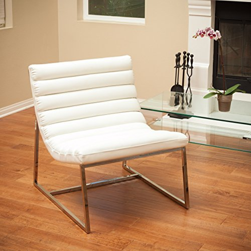 Christopher Knight Home 236325 Kingsbury White Leather Lounge Accent Chair