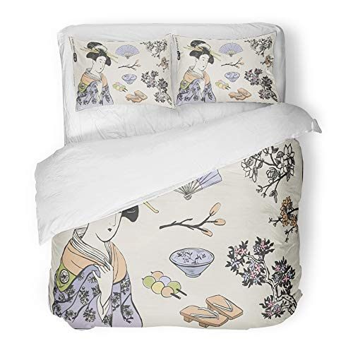 Emvency Decor Duvet Cover Set Full/Queen Size Watercolor Traditional of Japanese Design Geisha Woman Fan Painting Artistic Asian 3 Piece Brushed Microfiber Fabric Print Bedding Set Cover ()