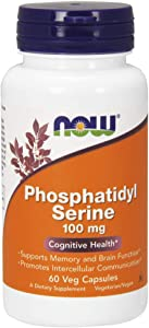 NOW Supplements, Phosphatidyl Serine 100 mg with Phospholipid compound derived from Soy Lecithin, 60 Veg Capsules