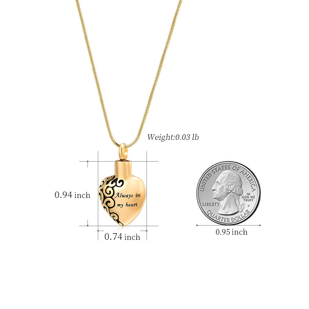 constantlife Dad Memorial Jewelry Love Heart Keepsake Urn Necklace Stainless Steel Cremation Urns Keepsakes Jewelry for Human Ashes
