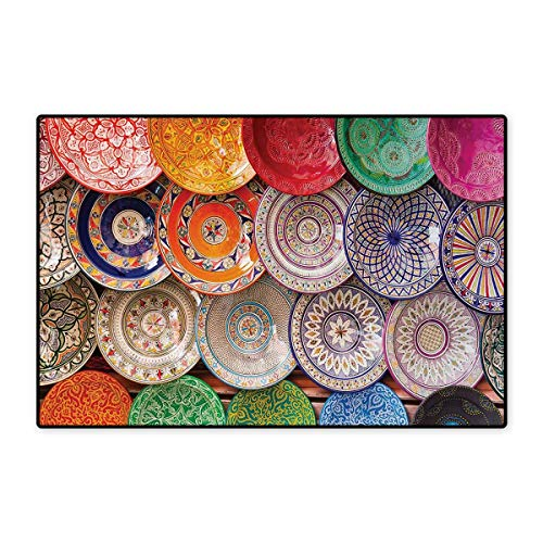 Moroccan,Door Mats,Traditional Arabic Handcrafted Colorful Plates Shot at The Market in Marrakesh,Bath Mat Bathroom Mat with Non Slip,Multicolor 32