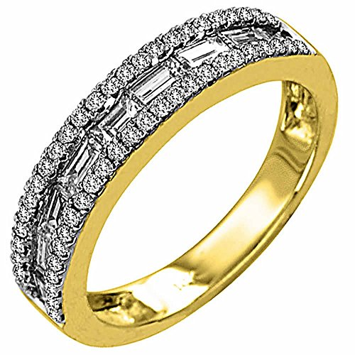 Round Tdw Ring Diamond Wedding (1.00ct TDW White Diamonds 18K Two Tone Gold Channel Women's Wedding Band (G-H, SI1-SI2) Size-5.5c2)