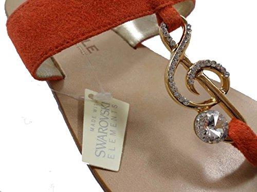 EDDY DANIELE 37 EU Sandalias Mujer Naranja Gamuza / Cristales Swarovski AX696