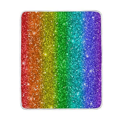 TFONE Rainbow Glitter Pattern Throw Blanket Super Soft Cozy Luxury Lightweight Velvet Plush Decor Throw Blanket for Couch Sofa Bed 1 Pack (50 x 60) inch