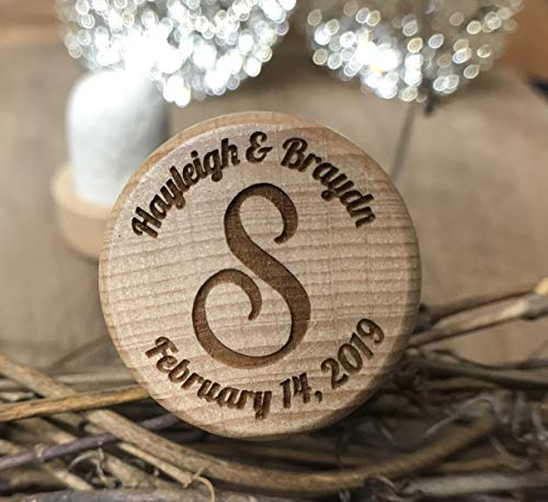 Wine Standard Monogram - Personalized Wood Wine Stopper Laser Engraved with your Name, Monogram, Wedding Date