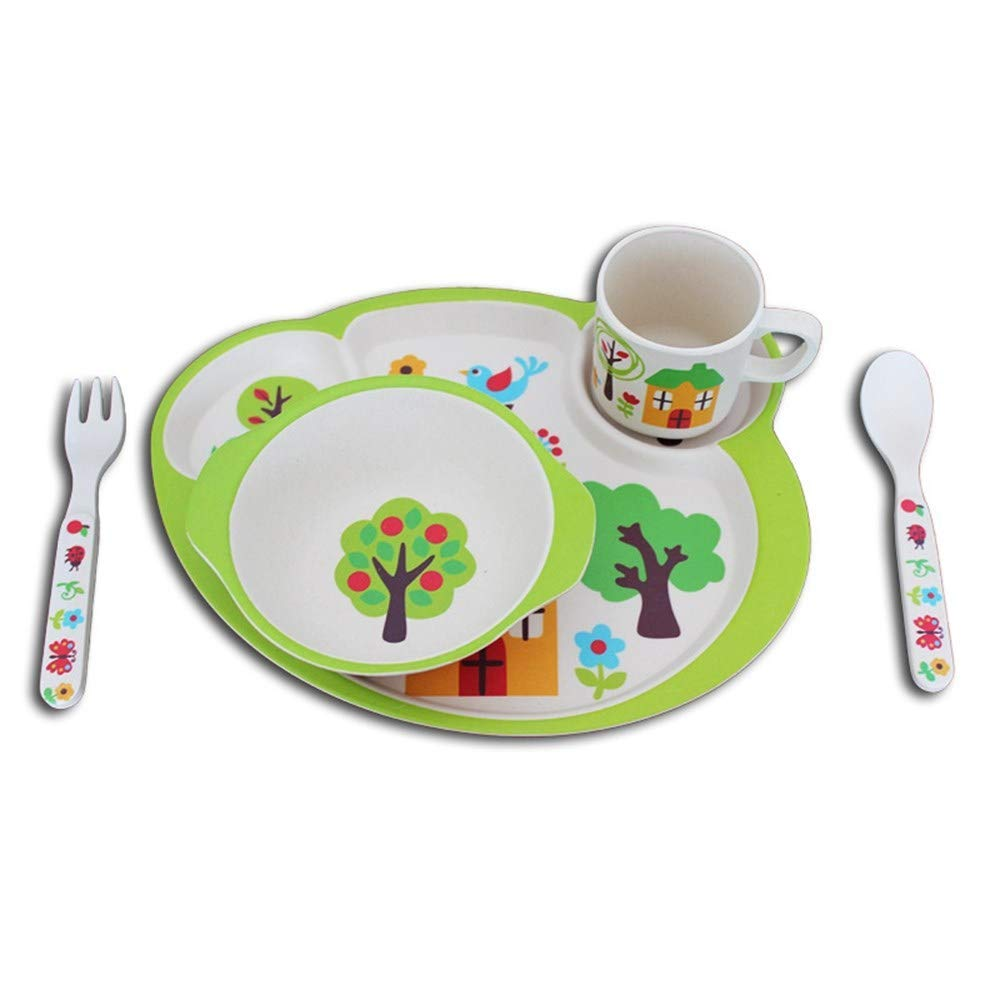 YQSMB Bamboo Fiber Material Children Tableware 5Pcs Tableware Cartoon Pattern Baby Tableware Cup Bowl Tray Fork Set Children's