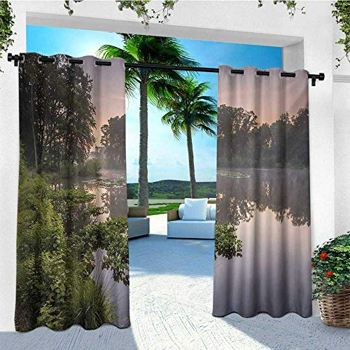 Forest, Outdoor Curtain Wall, Lake in Natura Reserve Springendal Netherlands Foggy Morning in Woods Ecology, for Patio W84 x L96 Inch Green Purplegrey